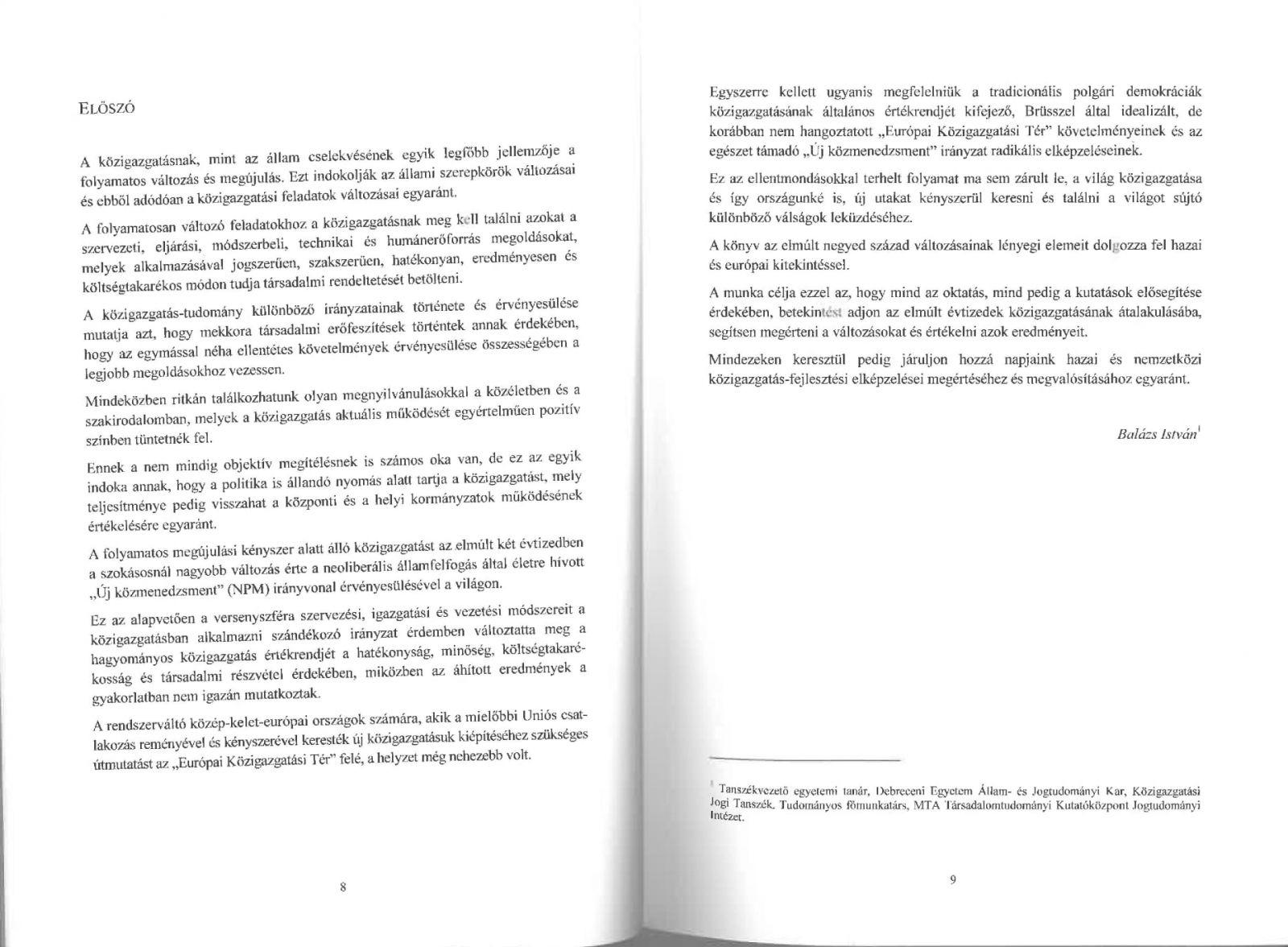 A közigazgatás változásairól Magyarországon és Európában a rendszerváltástól napjainkig